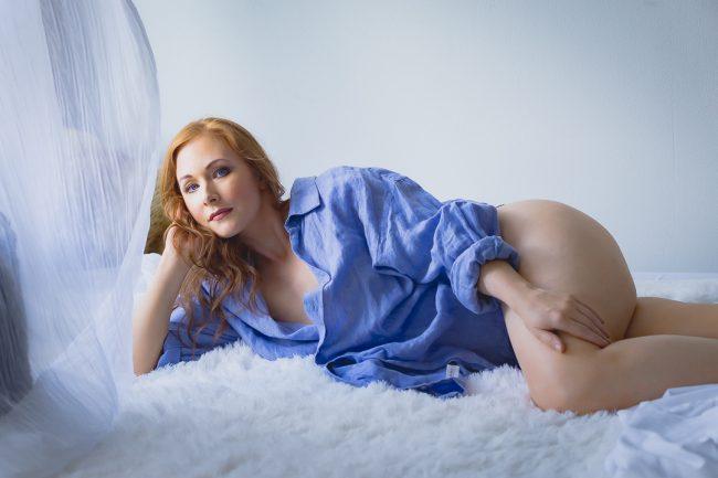 Redhead Woman in Boudoir Pose